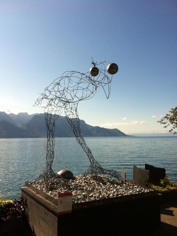 bird sculpture on Lake Geneva