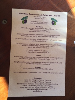 Kiler Ridge Pairing Menu