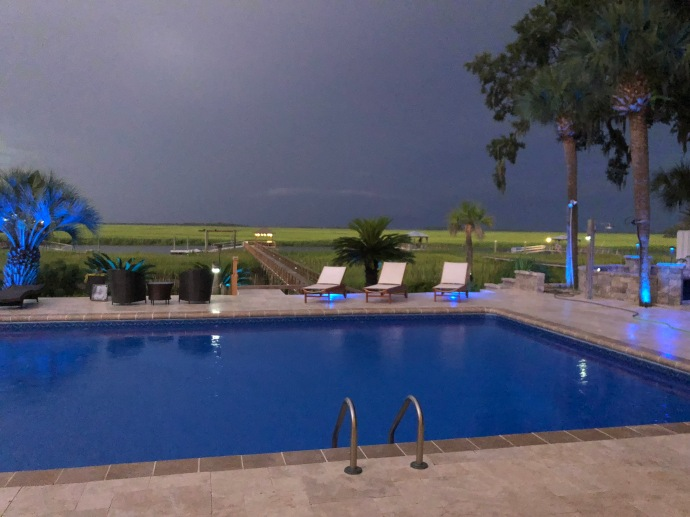Pool lit by lightning